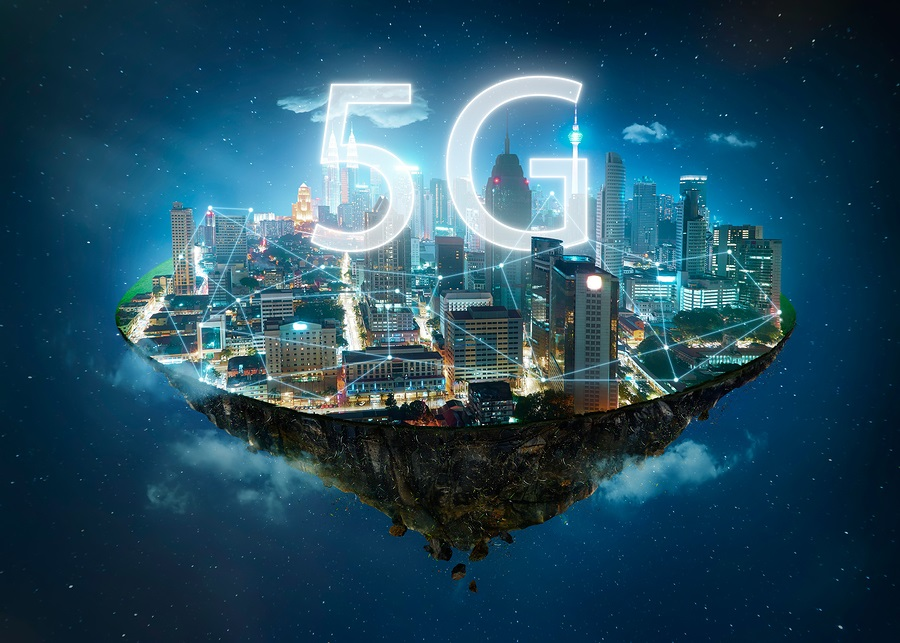Fantasy island floating in the air with 5G network wireless systems and internet of things , Smart city and communication network concept
