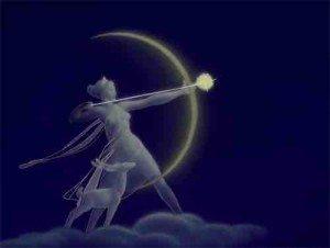 Greek goddess Diana Crescent Moon Symbol